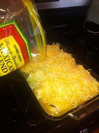 Arriba con un montón de queso.