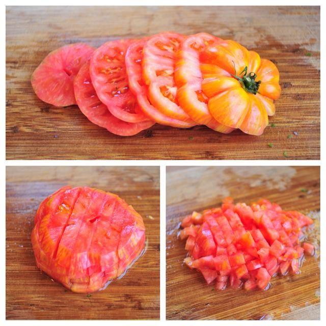 Me gustan los tomates ligeramente más firmes. Cortar en 1.4