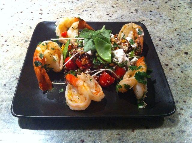 Cómo hacer quinua Ensalada con langostinos picantes Receta