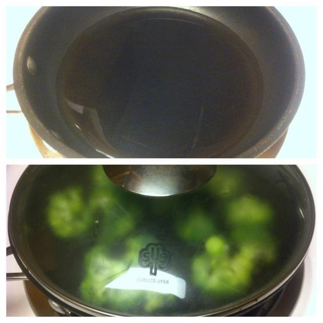 Brécol vapor en una sartén. Caliente el agua en medio-alto, a continuación, añadir en floretes de brócoli. Brécol vapor durante 3 minutos o hasta que estén tiernos.