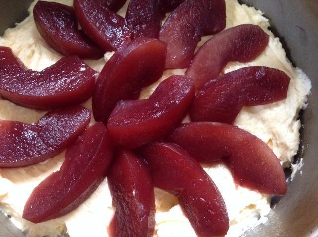 Spread medio mezcla en una engrasada 18cm y empapelada tartera, colocar rodajas de media manzana en la parte superior.