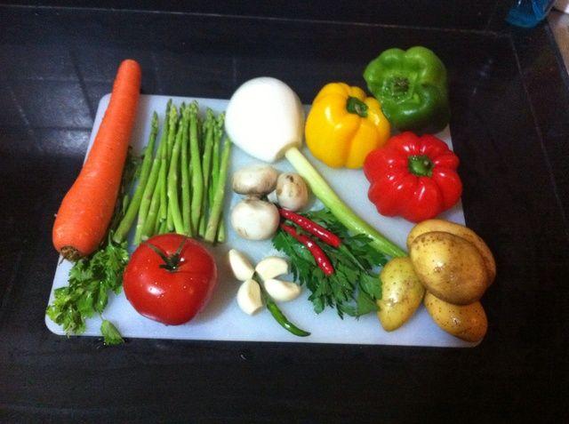Estas son las verduras, pero utilizan cualquier tipo de verduras que te guste