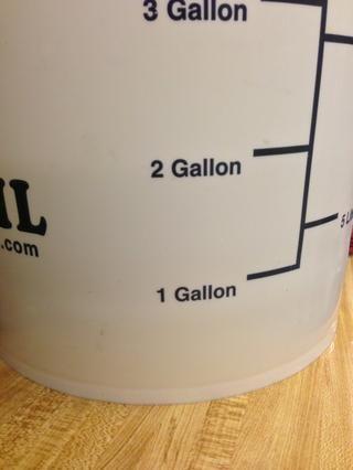 Llene la cubeta hasta la marca de dos galones.
