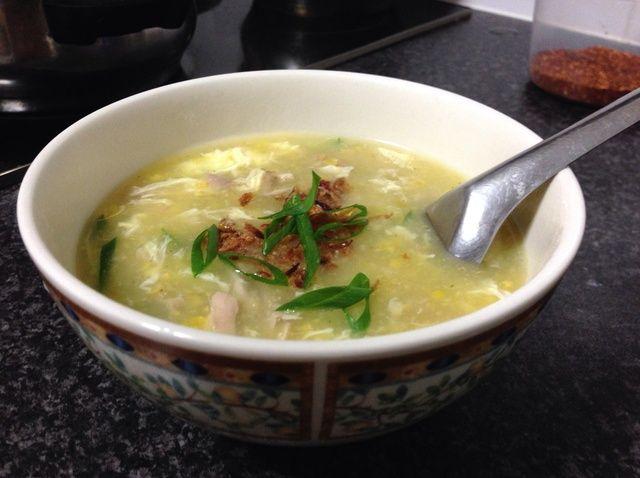 Cómo hacer pollo asado maíz dulce Sopa Receta