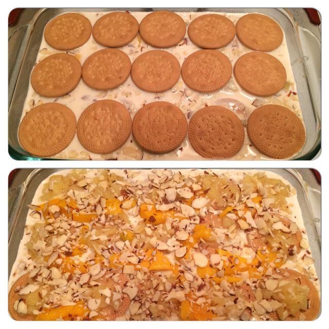 Repita el proceso de nuevo añadiendo cuidadosamente otra cama de galletas, piña, mango y almendras.