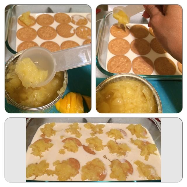 Una vez que las cookies se establecen complemento aplastado piña (sin sobrecargarla). Algunas cookies se hundirán. Eso está bien.