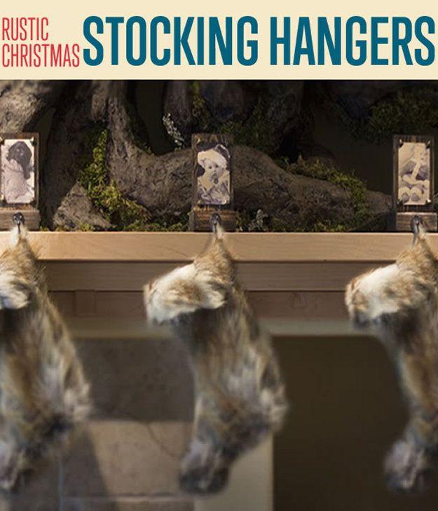 Fotografía - Cómo hacer rústicas bricolaje Stocking Perchas | Navidad ideas del arte