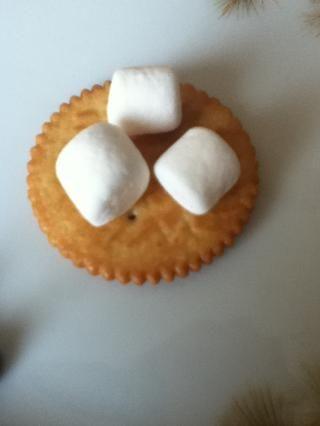 Coloque los tres malvaviscos en una de las galletas Ritz como así.