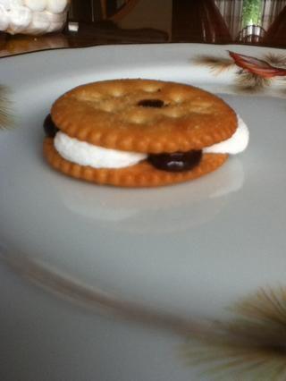 A continuación, desea tomar la segunda galleta Ritz y lo presiona en la parte superior de la otra galleta Ritz. A continuación, se terminado y listo para disfrutar!