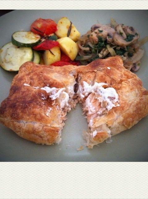 Cómo hacer salmón en croute con queso crema Receta