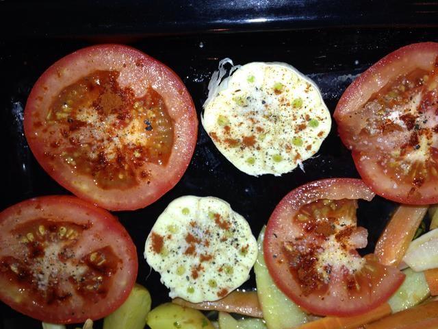 Añadir en el horno (puede caber fácilmente junto a pattatoes, pollo u otras). Horno debe estar en 180-200 grados