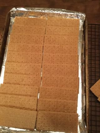 Línea de las 24 galletas integrales sobre la bandeja de horno frustrado, que más deben regazo alrededor de 1/4 de las formas largas de galletas (sigue las líneas perforadas formas largas