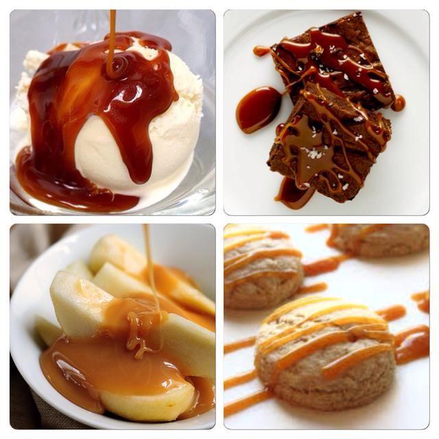 Utilice su salsa de caramelo salado en helados, bizcochos de chocolate, manzanas u otras frutas, pasteles, bollos, galletas, e incluso pan.