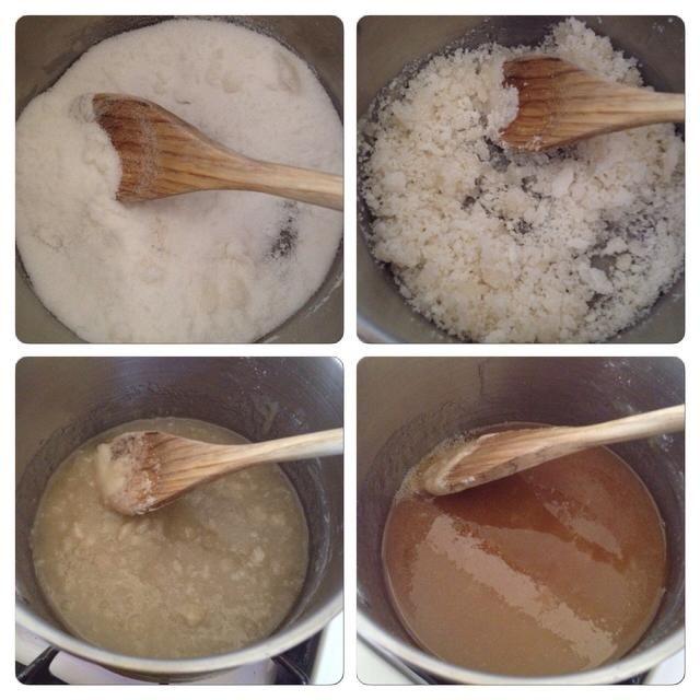 Poco a poco el azúcar se iniciará la formación de grumos. Mantener la agitación! Con el tiempo se va a derretir en un líquido de color caramelo.
