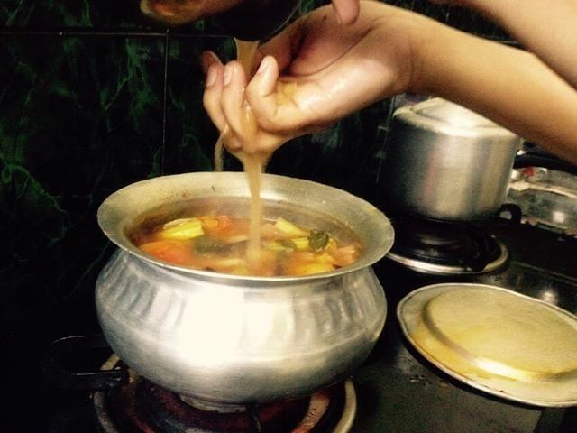 Una vez que las verduras estén cocidas jugo semi complemento tamarindo ..