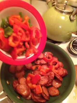 Volcado de las verduras en. Perdón por el foto borrosa.