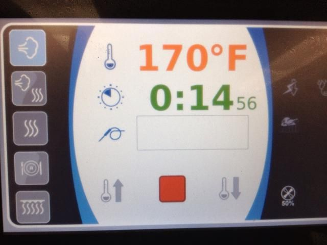 Vapor temperatura baja a 170 F por 17 minutos.