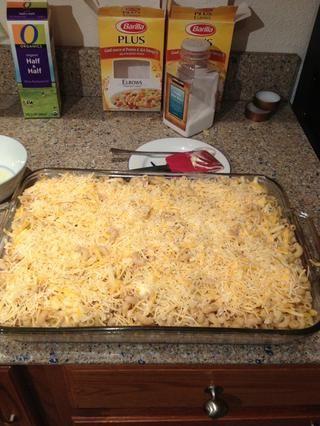 Se trata de cómo se ve después de 3 capas de pasta y queso. No hemos terminado aún ...
