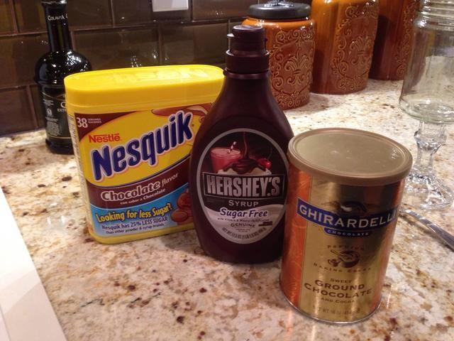 Todos ellos saben muy bien para esta receta. He utilizado el Nesquik en este.