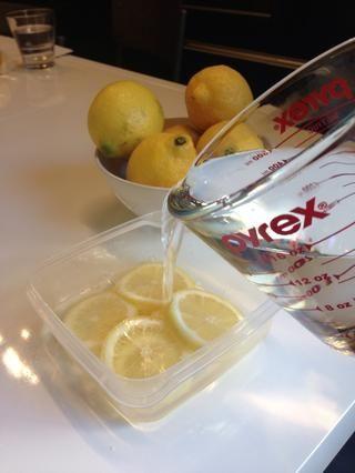 Coloca los limones en un recipiente tupperware y vierta agua tibia hasta casi la cima. (Se dice que el agua caliente para ayudar a mantener los cubitos de hielo de conseguir nublado.) Ponga en un punto plano en el congelador ...