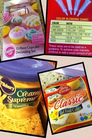Es necesario un conjunto de decoración. Un gel de colorantes alimentarios y glaseado de vainilla cremosa. Uso de vainilla porque's easier to add colors to your cupcake.