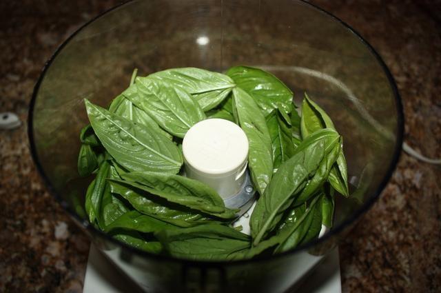 Agregue la albahaca en un procesador de alimentos.