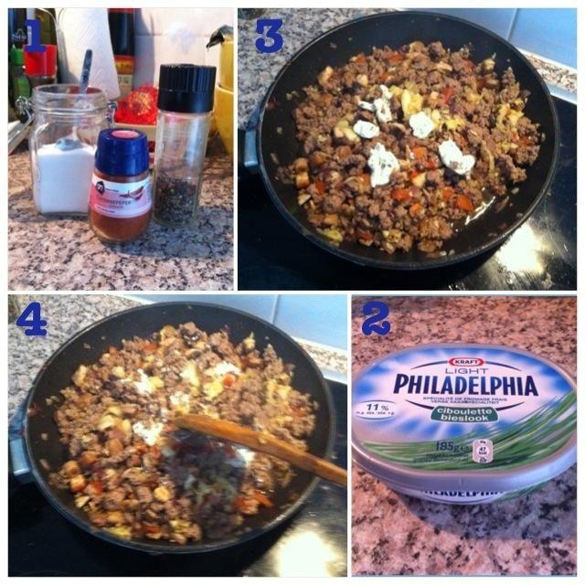 1. añadir pimienta, sal y pimienta POLVO 2. grap Filadelfia crema de quesos 3. elegir su propia cantidad - 4. Mezclar bien todo junto.