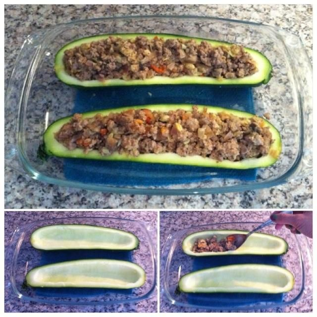 Ponga calabacín en fuente de horno y añadir la carne y verduras en ambas mitades. Opcional: usted puede agregar el queso en la parte superior de la misma. Elijo hacerlo después (véase el paso 11).