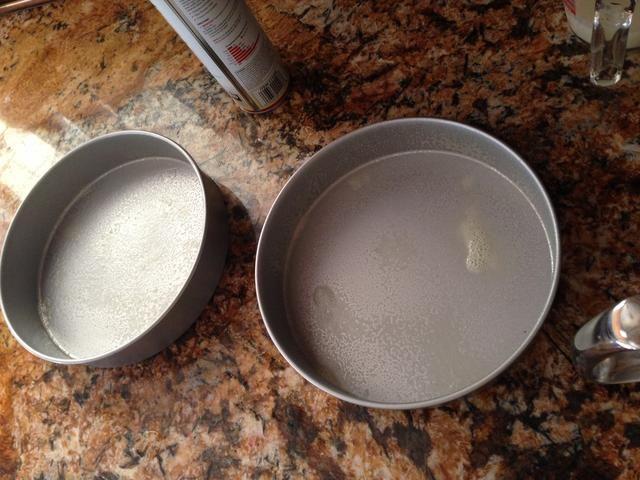 Untar generosamente dos moldes para hornear 9 pulgadas, llenarlos con la mezcla, asegurándose de que cada bandeja tiene una cantidad aún. Torta :) Hornear durante unos 50-55 minutos ...