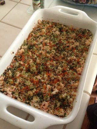 Tome una cucharada grande de su hornear sushi, lo puso en una hoja de alga marina, y disfrutar! ???????????????????????? También es ideal para llevar a los partidos!