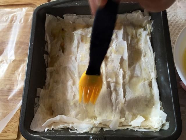 usted're going to want to repeat those last few steps until your last layer of phyllo dough.
