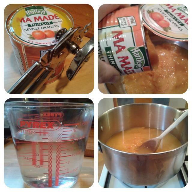Ponga el Mamade más agua en la estufa para calentar a baja temperatura. (Yo uso agua caliente y lo uso para enjuagar la lata)