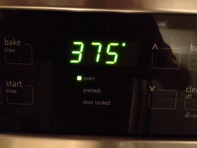 bajar el horno a 375F