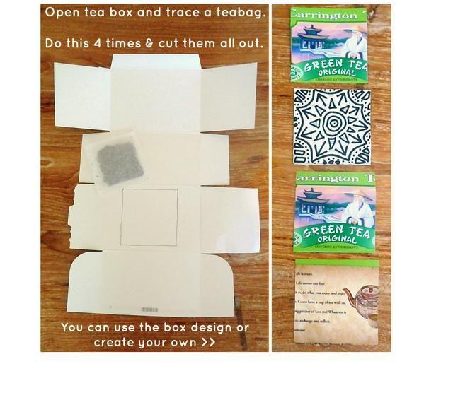 Abrir con cuidado la caja que las bolsitas de té llegaron. Si usted no tiene la caja, cualquier pedazo de cartón delgado funcionará. Traza una bolsa de té en el cartón cuatro veces y cortar las cuatro plazas.