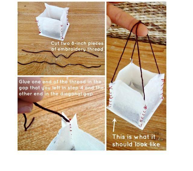 Corte dos piezas de 8 pulgadas de hilo de bordar. Con la primera pieza, pegamento caliente un extremo a una brecha de esquina y el otro extremo a su brecha diagonal. Una pizca de asegurar. Repita el procedimiento para las otras esquinas.