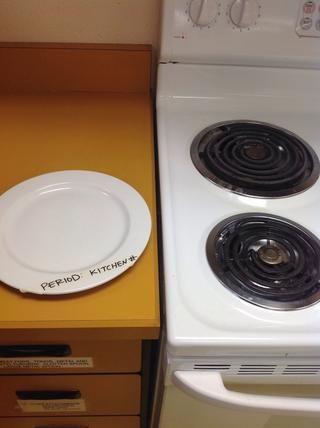 Deja un plato marcado con su información cocinas.