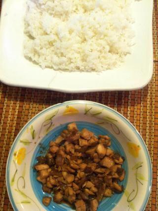 Una vez que el arroz tiene fresco, tiene arroz y salmón cerca