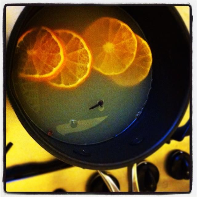 Agregue el jugo, clavos y trozos de clementina a tu bandeja. Mantener a fuego lento.