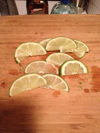 Dejar's be all fancy pants and cut up a lime for garnish purposes.