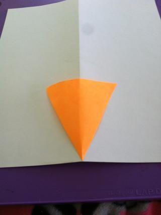 Desdoble el papel y sentar la zanahoria en la parte superior en el centro. Luego seguir la zanahoria a la ligera.