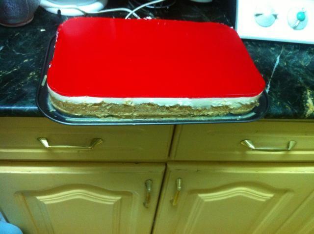 aquí se trata de un hermoso pastel de queso fría
