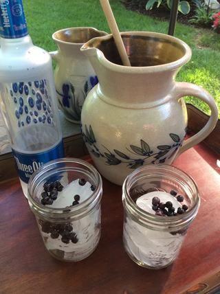 Reunir grandes vasos llenos de hielo, y añadir los arándanos congelados (por supuesto me gusta arándanos silvestres)