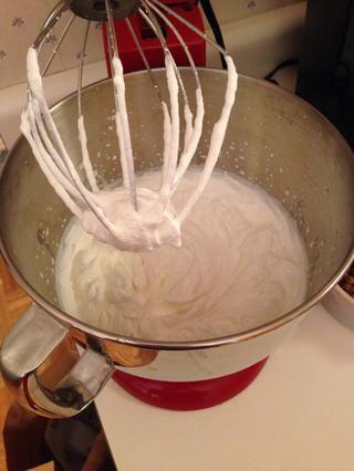 Déjalo ir hasta que la crema batida es agradable y dura y esponjosa. Don't overmix! If you let it go too long, it will become liquid-like again. This took me less than 5 minutes.