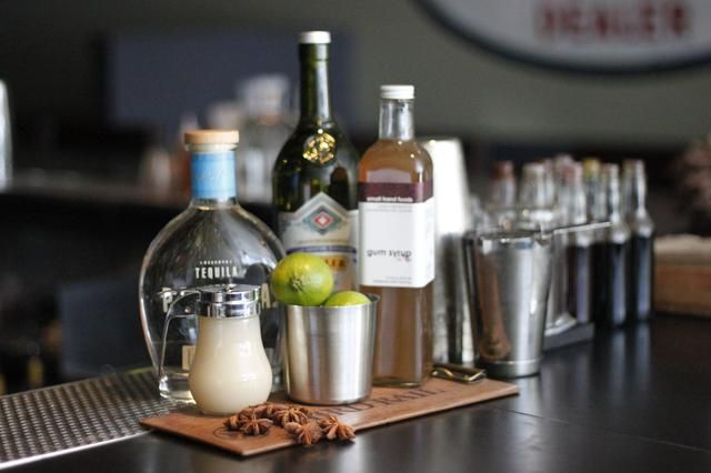 usted'll need asian pear/anise puree, Partida Blanco Tequila, lime juice, gum syrup, a shaker, double strainer, and a spray bottle for absinthe.