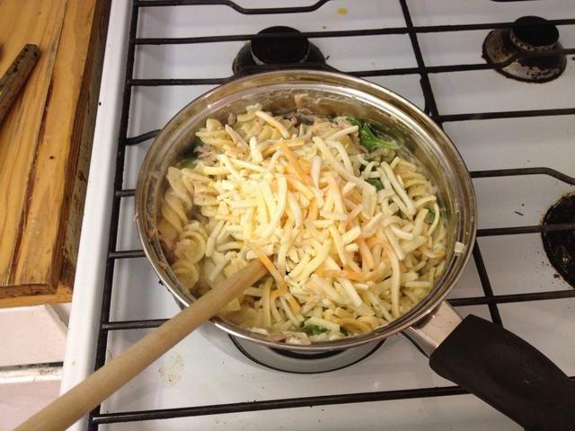 A continuación, añadir el atún, el ajo y los condimentos. Usé un poco de perejil, sazonar marroquí y la sal y la pimienta. Revuelva, a continuación, se apaga el fuego y se mezcla en el queso.