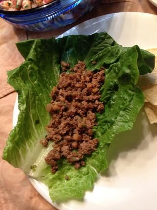 Don't forget to wash the romaine lettuce! When done, put a spoonful of turkey...