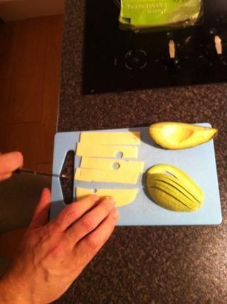 Slice Emmental plaza queso en 5 tiras.