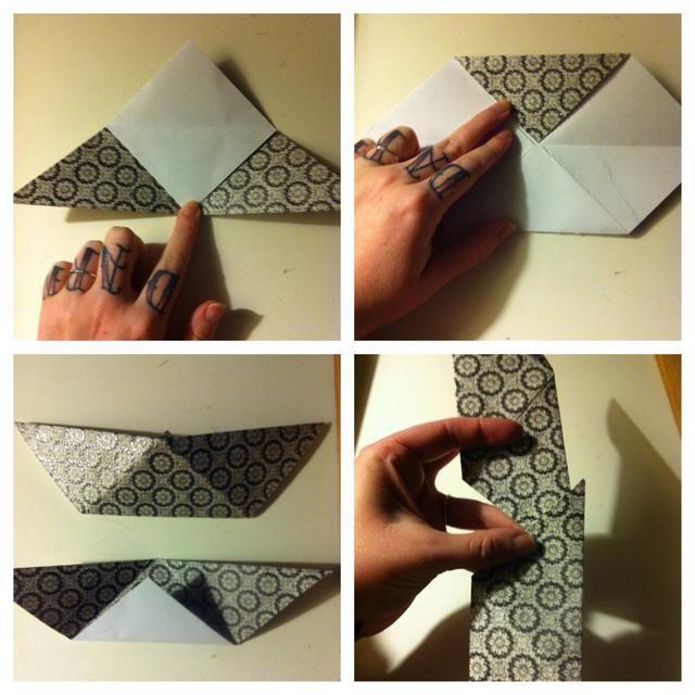 Dobla la punta superior hasta el borde inferior. Abrir y doblar la punta superior hasta el borde inferior. Dobla de nuevo en 1.2. Tercera imagen muestra el frente y la parte posterior. Sosteniendo 2 en la misma dirección, deslizar uno en el otro. No requiere pegamento.