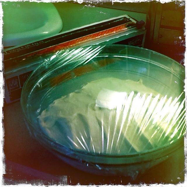 Coloque la masa en el recipiente y cubrir con papel plástico