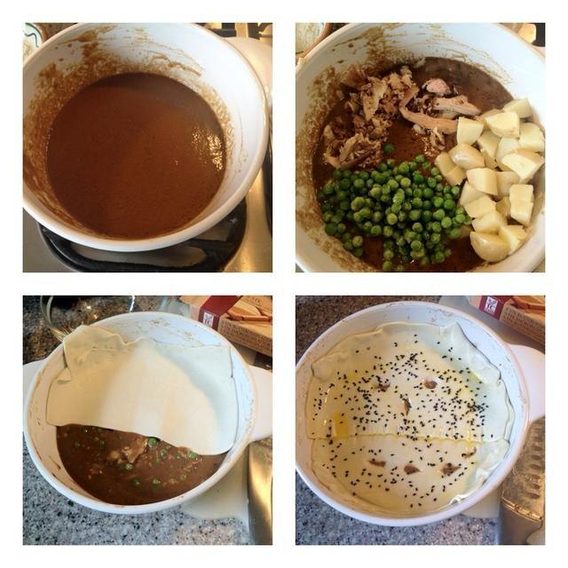 El segundo plato: salsa sobrante con el resto de los de pollo, patatas y peas.Cover con hojaldre, hilvane con huevo y espolvorear unas semillas de Nigella. Hornear durante 30 minutos a 375F Servir con ensalada.